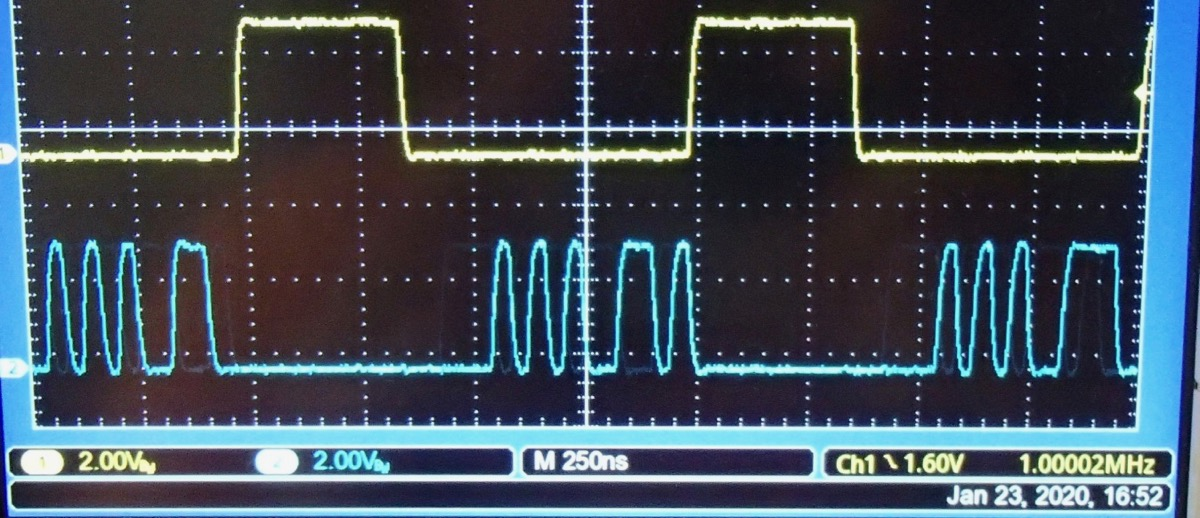<strong>~CS and DIN signals for three DAC samples. The data are (1) 16'b054C=0000010101001100 (2) 16'b054D=0000010101001101 (3) 16'b054E=0000010101001110.</strong>