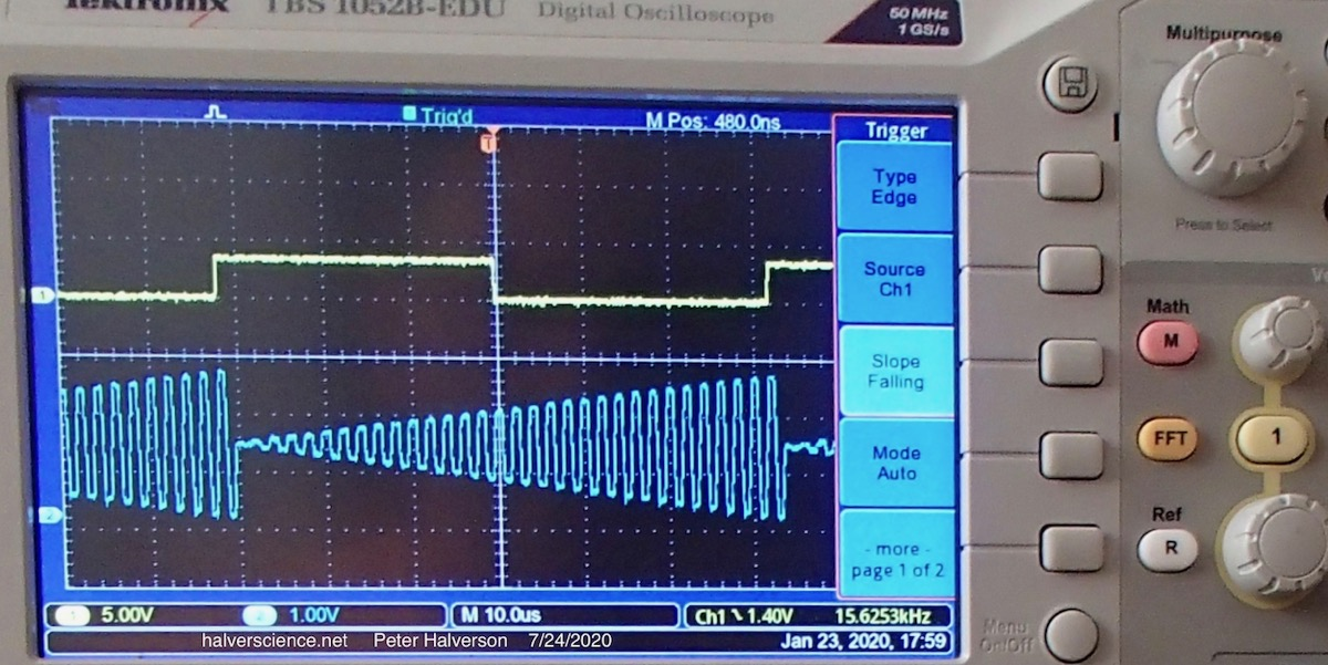 <strong>Similar test signal as above, but now the modulation is a 15.6 kHz sawtooth. The scope's sample rate is now sufficiently high to avoid aliasing. The DAC succesfully slews to full amplitude.</strong>