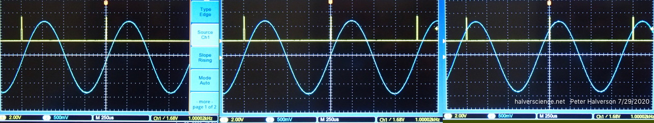 <strong>Effects of commands 1 and 2. Image 1: Before adjustment, the sine wave crosses zero 9 degrees after the 1 kHz reference pulses (yellow). Image 2: After 9 degrees advancment, the zero crossing is in line with the pulses. Image 3: Waveform is advanced +45 degrees.</strong>