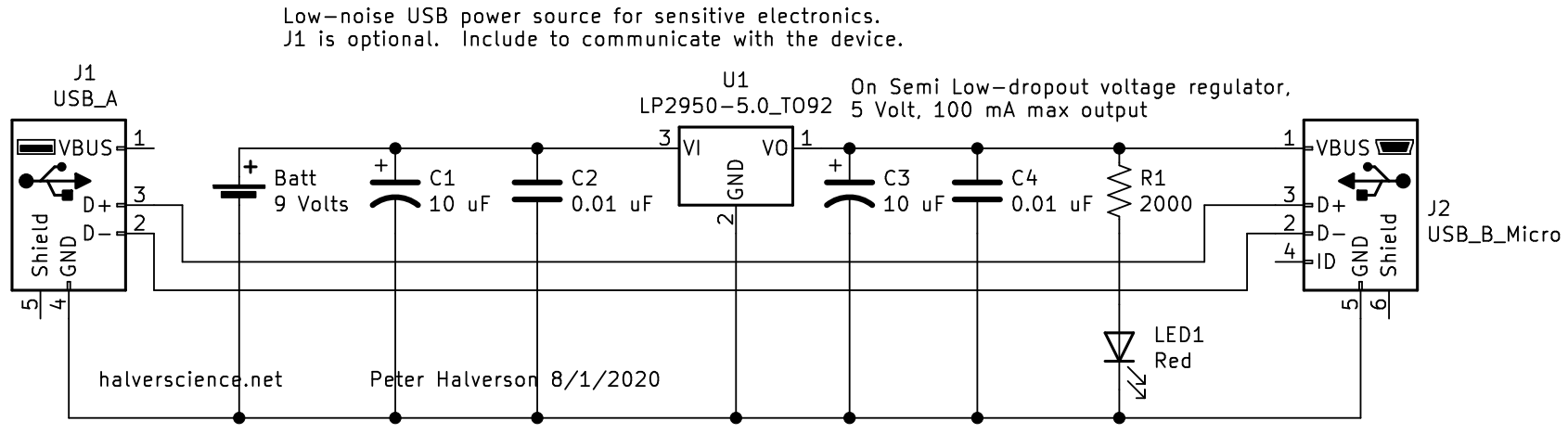 <strong>Low-noise power source for USB devices schematic. </strong>